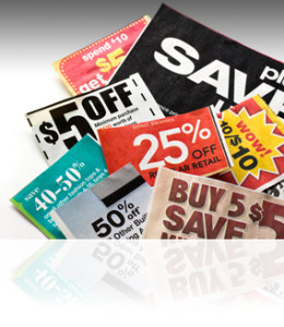Coupons isolated on white background