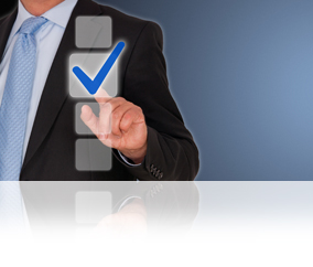 Businessman with blue Checkbox