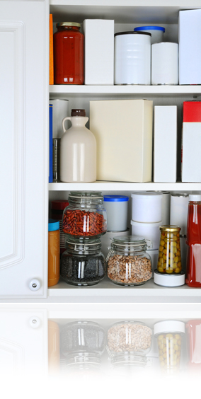Closeup of a Well Stocked Pantry